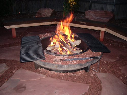 Huskiez Landscaping custom built and designed fire pit
