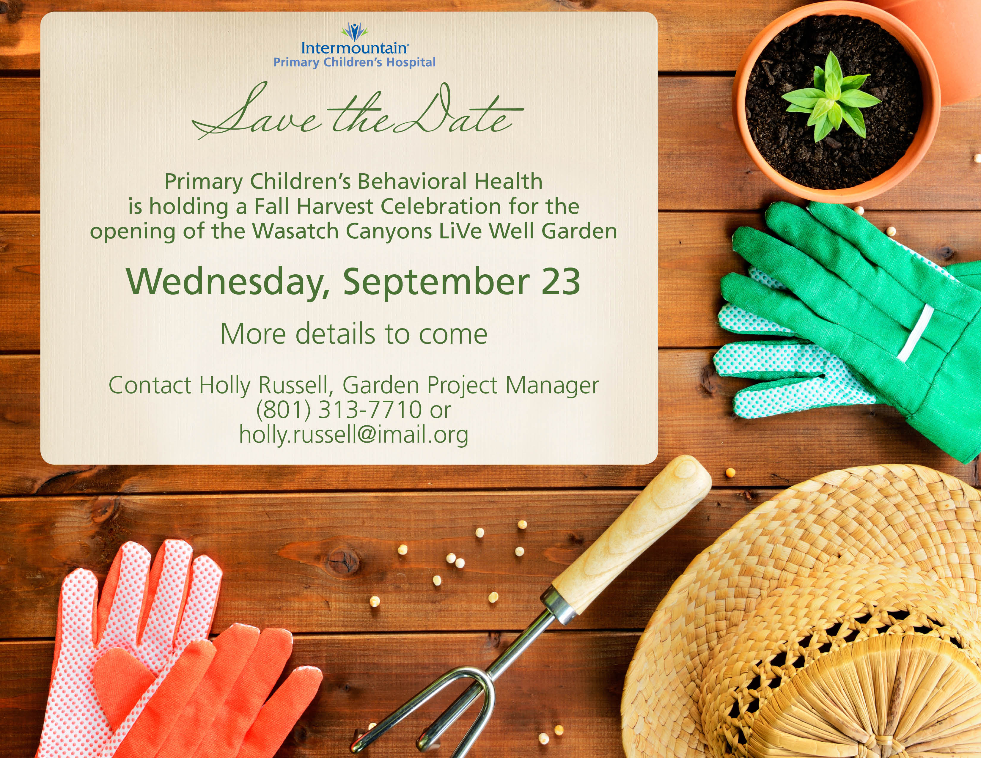 Primary Children's LiVe Well Garden at Wasatch Canyons Save The Date