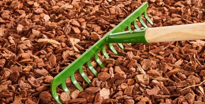 Rake spreading out mulch