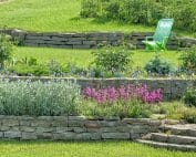 Lawn with retaining walls