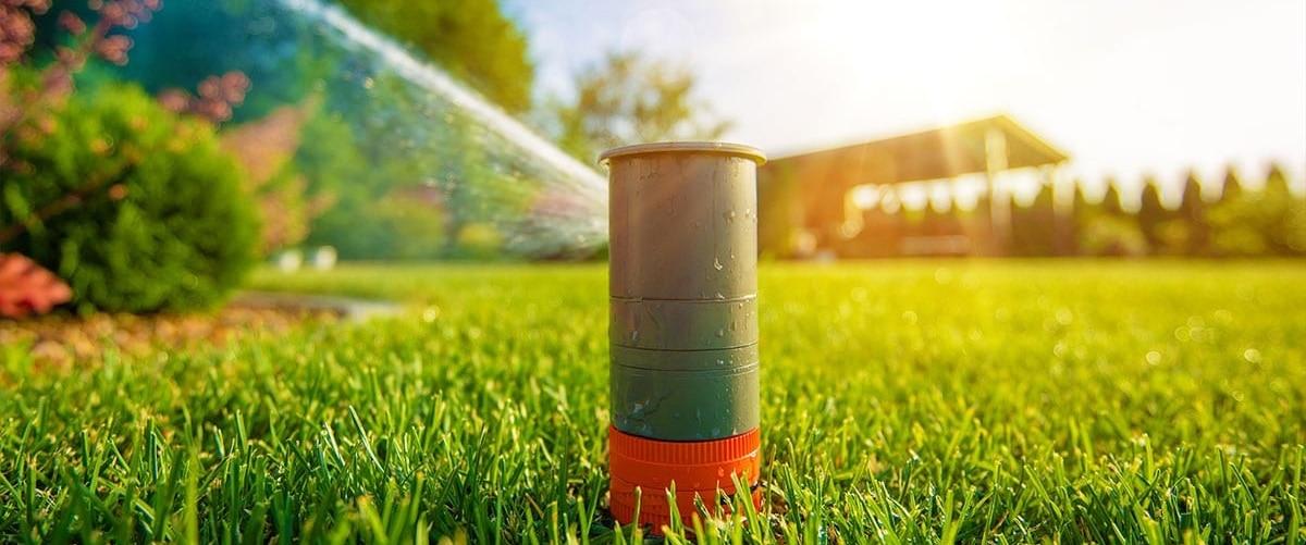 Automatic sprinkler spraying lawn