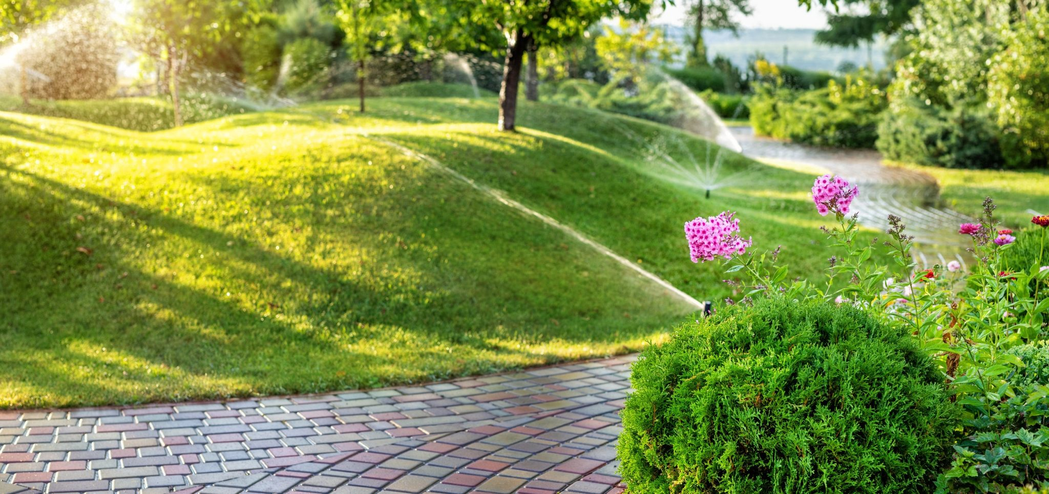 Automatic sprinkler system watering a lawn