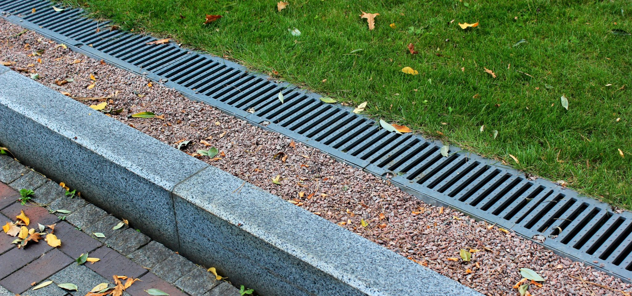 Rainwater drainage system in a park